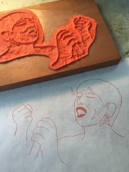 和田アキ子 手彫りゴム印、写し.JPG